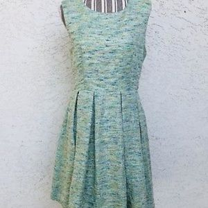 Pleated paper crown tweed dress